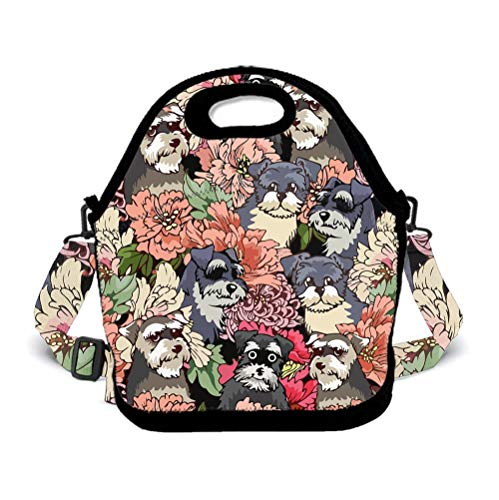 BOYO ME Kids Lunch Bag Insulated Lunch Holderfor Elementary School Boys and Girls - Schnauzer Dog Florals,Spacious   Insulated   Food Safe Lunch Pack Lunch Container
