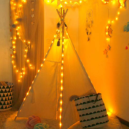 (UKadou Fairy Lights for Kids Teepee - Pack of 4 Starry String Lights Battery Operated Lights 6.5ft 20 LED Copper Wire Lights for DIY Lighting Decors Indoor for Wedding Centerpiece)