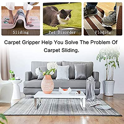 YUERSEAK Rug Grippers, 18-Piece Washable & Reusable Double Sided Carpet Tape Anti Curling Rug Grippers for Hardwood Floors, Outdoor Rugs, Carpets and Mats