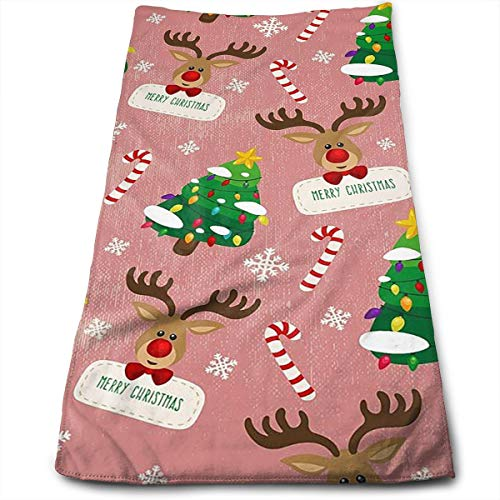 AZOULA Merry Christmas Reindeer Face Hand Towels Microfiber Sport Towels for Sports, Hair Care, Cosmetology, Cleaning, Furniture Makeup Removing Cloths Fast Drying 27.5 X 12 Inch.