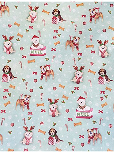 Candy Cane Punch (Lady Jayne Continuous Gift Wrap Paper Roll, Candy Cane Christmas Puppies 28303)