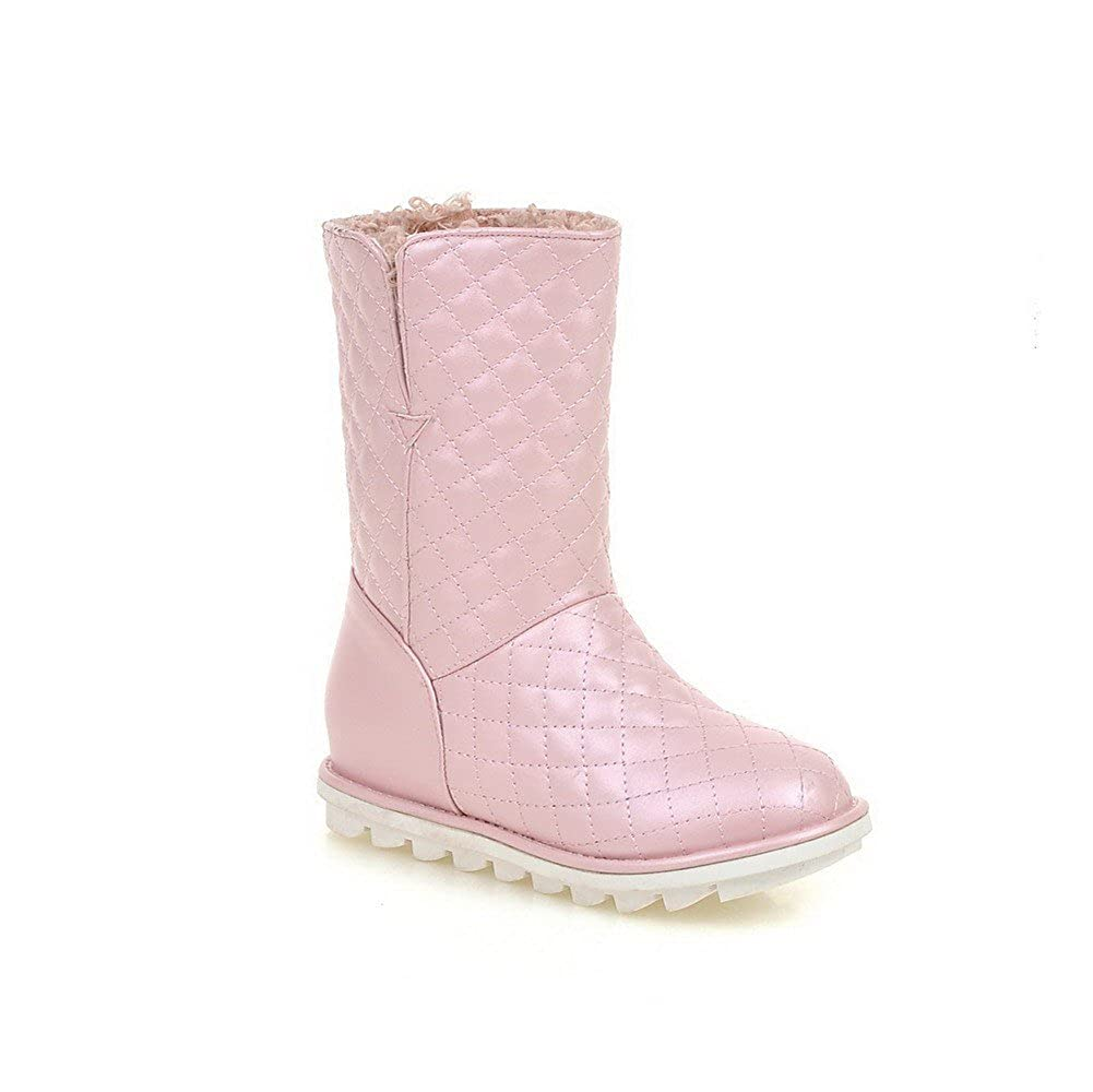 WeiPoot Womens Mid Top Pull On Kitten Heels Round Closed Toe Boots