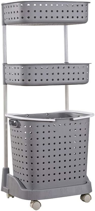 JIU SI Y- Laundry Basket with Wheels,Bathroom Shelf with Removable Hamper,Large Capacity,Durable Laundry Sorters (Color : Gray, Size : 3-Tier)