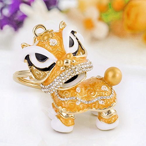Kansea Chinese Style Dance Lion Rhinestone Pendant Key Chain For Car Creative Gift - Orange