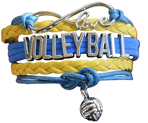 Volleyball Player Charm - Volleyball Charm Bracelet - Infinity Love Adjustable Charm Bracelet with Volleyball Charm for Volleyball Players