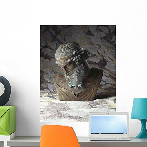 Wallmonkeys Italian Bronze Bust of Plato Wall Decal Peel and Stick Graphic WM134784 (24 in H x 19 in W) by Wallmonkeys