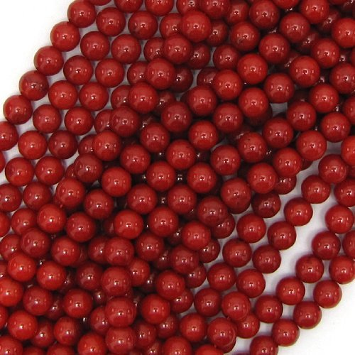 (6mm red coral round beads 16