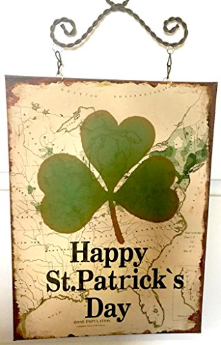 Happy St. Patrick's Day Sign Map 4 Leaf Clover Irish Population USA
