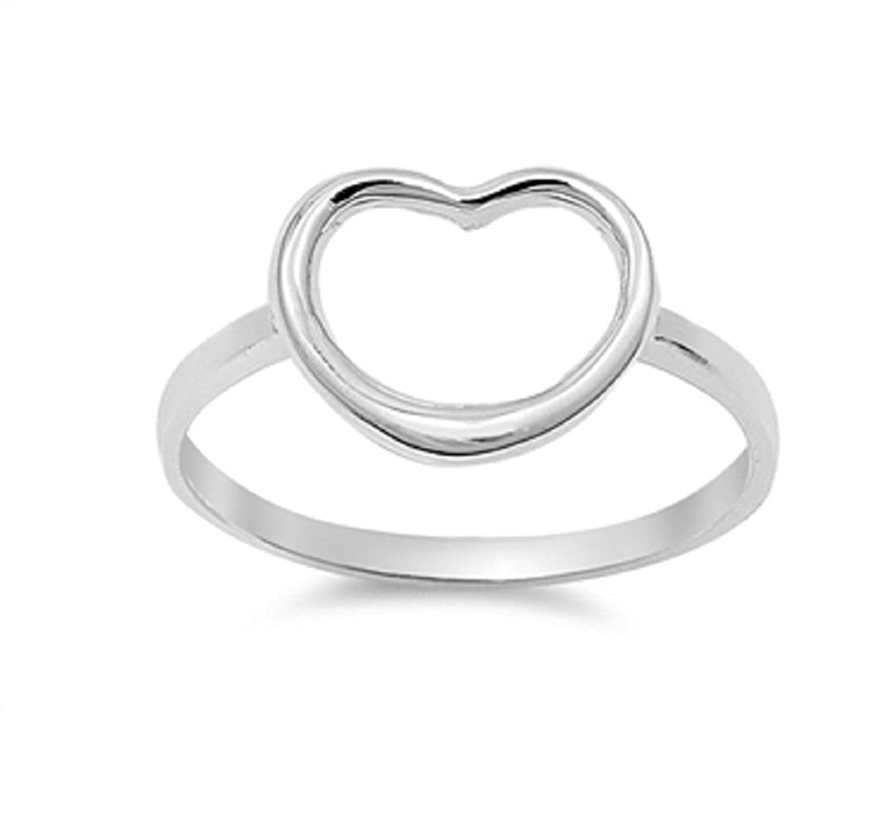 Princess Kylie 925 Sterling Silver Hollow Open Heart Ring