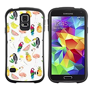 """Hypernova Slim Fit Dual Barniz Protector Caso Case Funda Para Samsung Galaxy S5 [Patrón de sandía Flamingo Loro Blanco""""]"""