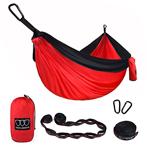 Gold Armour Camping Hammock - XL Double Parachute Camping Hammock (2 Tree Straps 16 LOOPS/10 FT Included) Lightweight Nylon Portable Hammock, Best Parachute Double Hammock (Red/Black)