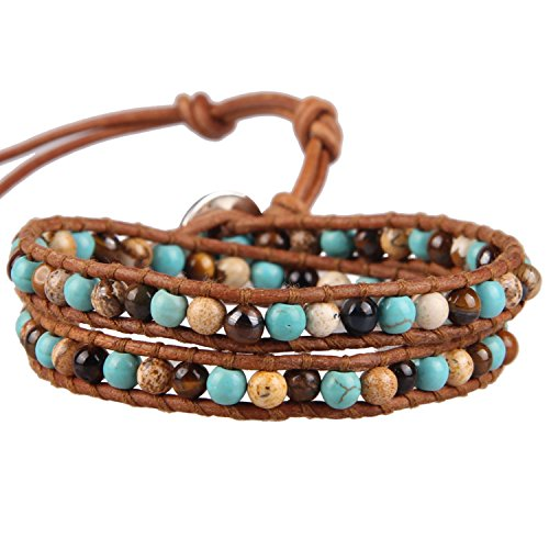 - KELITCH Cultured-Turquoise, Brown Stripe Agate Picture-Jasper Beads Leather Bracelet, 2 Wraps