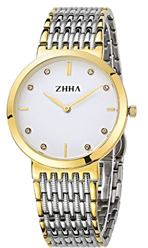 ZHHA Men's Watches 008 Casual Classic Quartz Gold Case Stainless Steel Wrist Watch For Men