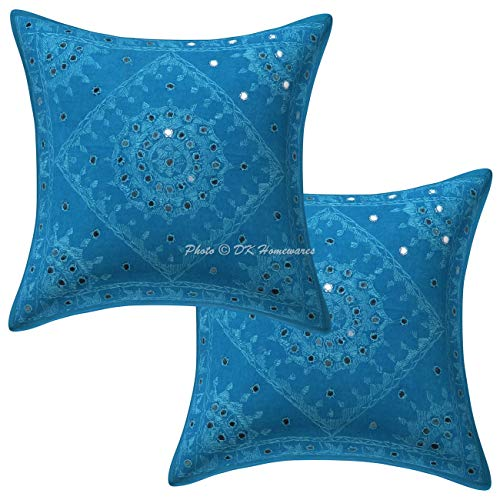 DK Homewares Bohemian Cotton Bedroom Throw Pillow Cover 16x16 Set of 2 Turquoise Indian Mirror Embellished Embroidered Pillowcases Living Room 40x40 cm Square Pillow Cases