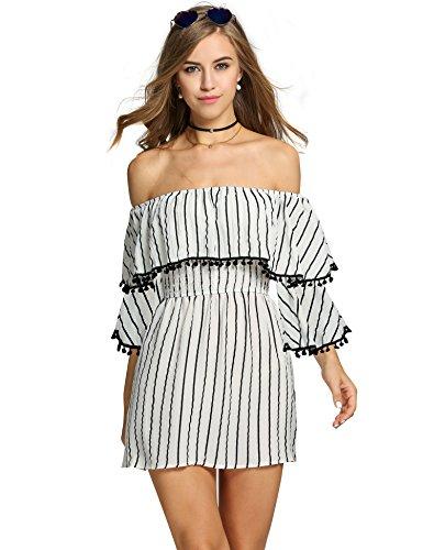 Zeagoo Women's Off Shoulder Ruffles Striped Casual Tassel Mini Dress