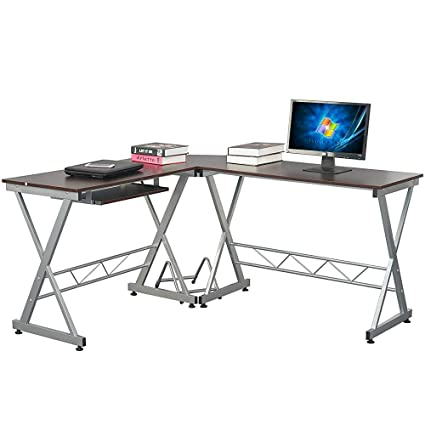 Amazon.com: Lovinland L Shaped Corner Desk Office Computer Desk Laptop PC  Workstation Gaming Table For Home Office 3 Piece Brown: Kitchen U0026 Dining