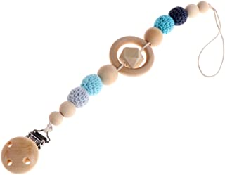 Tebatu Baby Pacifier Clip, Wooden Beaded Pacifier Holder Clip Teething Toy Shower Gift 30cm