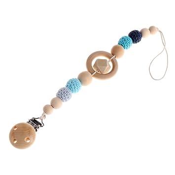 A0127 - Cadena para chupete de bebé con perlas, de madera, con clip ...
