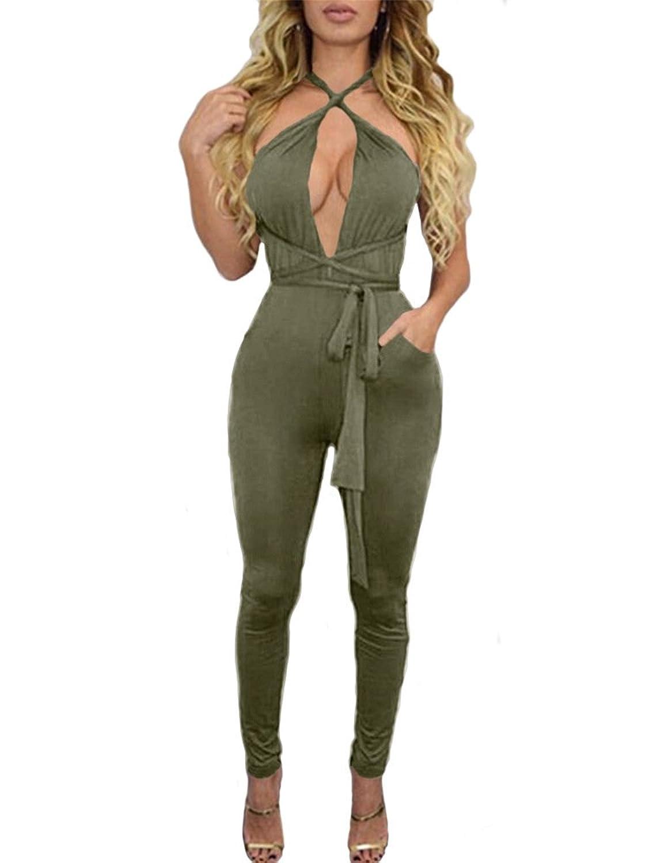BEAGIMEG Women's Sexy Backless Criss Cross Bandage Bodycon Club Romper Jumpsuit