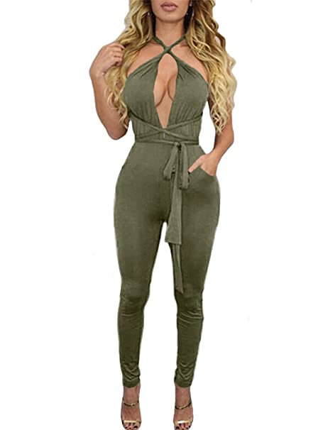 fc22e023a556 BEAGIMEG Women s Sexy Backless Criss Cross Bandage Bodycon Club Romper  Jumpsuit Army Green