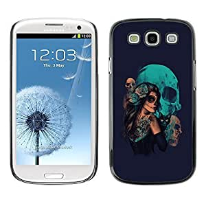 GagaDesign Phone Accessories: Hard Case Cover for Samsung Galaxy S4 - Goth Sugar Skull Girl & Cat