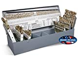 Rocky Mountain Twist 95090880 Cobalt Combination Size Screw Machine Set, 135° Split Point Geometry, 1/16'' to 1/2'', A-Z, and #1-#60 Size Range, 115 Piece Set