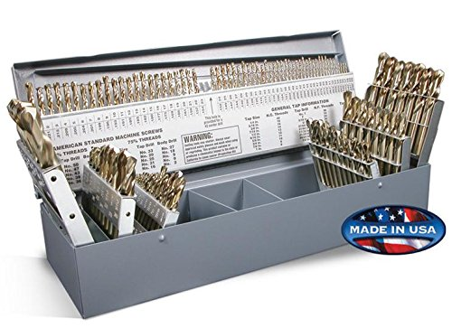 Rocky Mountain Twist 95090880 Cobalt Combination Size Screw Machine Set, 135° Split Point Geometry, 1/16'' to 1/2'', A-Z, and #1-#60 Size Range, 115 Piece Set by Rocky Mountain Twist