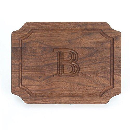 BigWood Boards W300-B Cutting Board, Monogrammed Wedding Gift Cutting Board, Small Cheese Board, Walnut Wood Serving Tray,