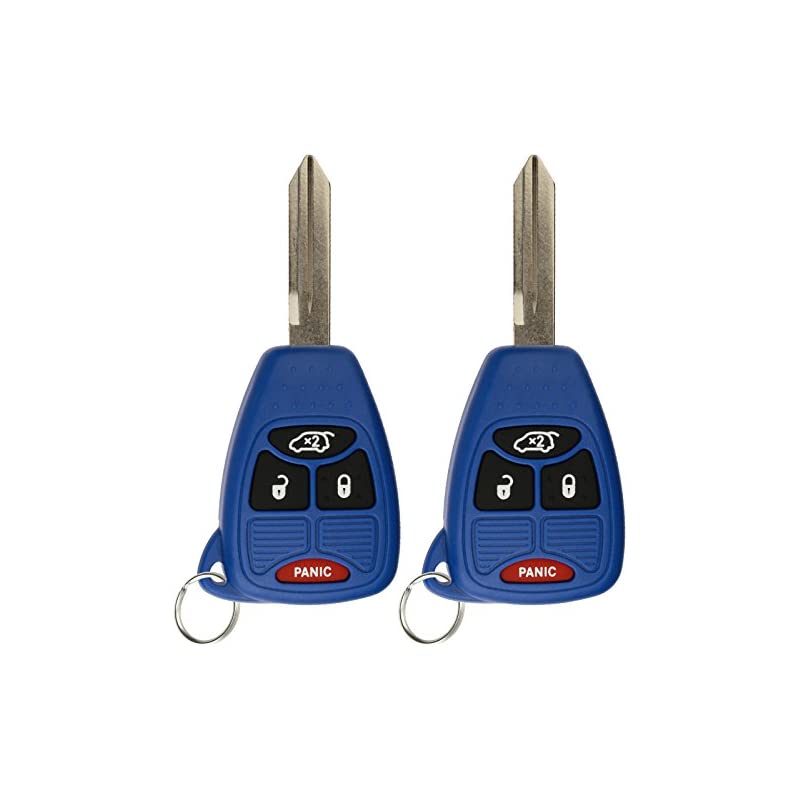 KeylessOption Keyless Entry Remote Control Uncut Car Key Fob Replacement for OHT692427AA KOBDT04A Blue (Pack of 2)