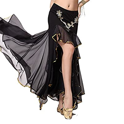 Belly Dance Embroidery Dual Split Skirt Dancing Dress 9 Colors Costume