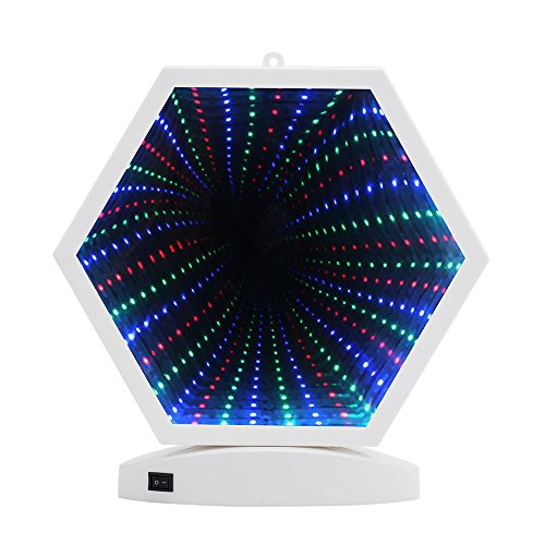(Hopolon 3D Creative Tunnel Lamp,LED Mirror Light,Battery Powered/USB Plug in Sexangle Sign Night Light for Christmas,Birthday Party,Wedding,Living Room Decor(H001-Multi Color)