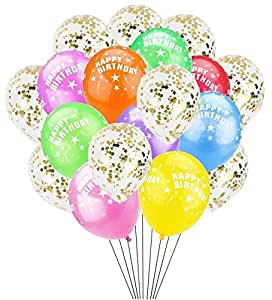 happy birthday latex balloon 10pcs - Confetti Balloons 10pcs Party Decorations Supplies for Christmas Valentines Birthday or Wedding