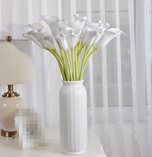 Calla Porcelain Lily Bouquet - Dreamingces Artificial Flowers Calla Lily Green Plants White Porcelain Vases Home Decorations For Wedding Bouquet Birthday Bunch Hotel Party Garden
