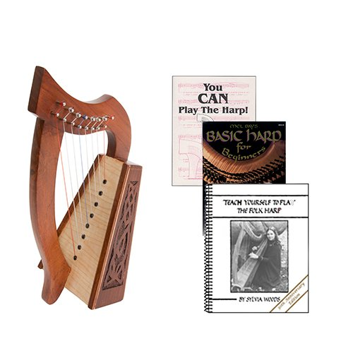 Homeschool Music Lily Harp w/Introduction to Harp Book Bundle + Teach Yourself Folk Harp Book by Homeschooling Harps