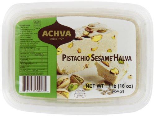 Achva Halva, Pistachio, 16-Ounce Trays (Pack of 12) (Kosher Gift Baskets To Israel)