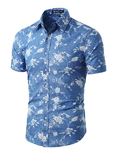 uxcell Men Short Sleeve Button Down Floral Print Cotton Shirt Denim Blue Floral Print L (US 42)