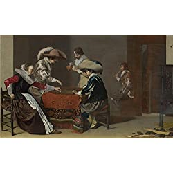 Oil Painting 'Willem Duyster Two Men Playing Tric Trac With A Woman Scoring', 16 x 27 inch / 41 x 68 cm , on High Definition HD canvas prints, gifts for Garage, Home Theater And Kitchen Decoration