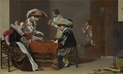 Costume Dance Of Birds Paradise (Oil Painting 'Willem Duyster Two Men Playing Tric Trac With A Woman Scoring ' Printing On Polyster Canvas , 12 X 20 Inch / 30 X 51 Cm ,the Best)