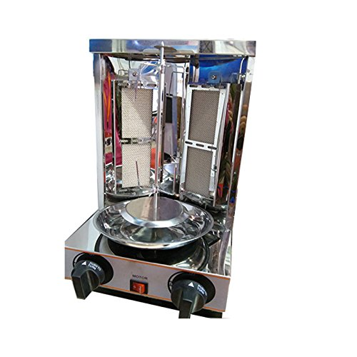 stainless steel 2 burners LPG Gas mini Chicken shawarma toaster doner kebab grill machine for catering kitchen equipment