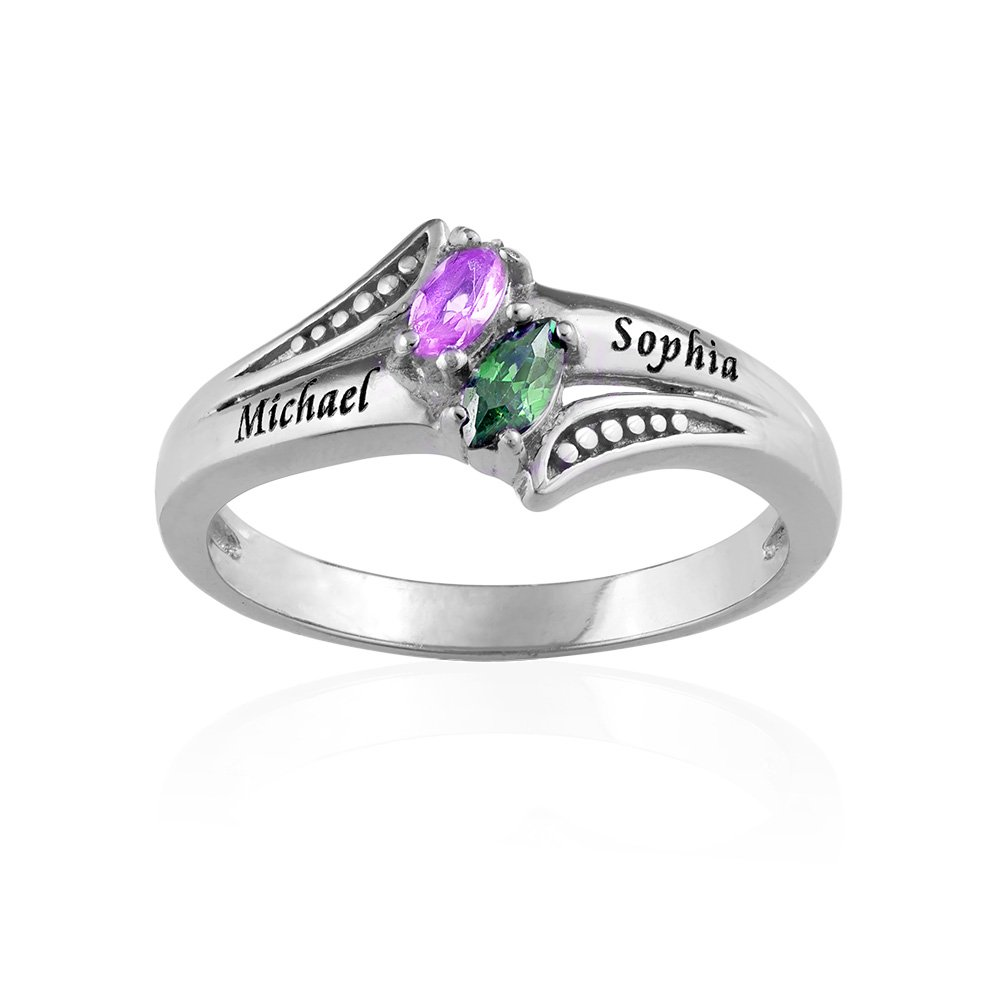 Amazon.com: Personalized Couples Promise Ring - Engraved with ...