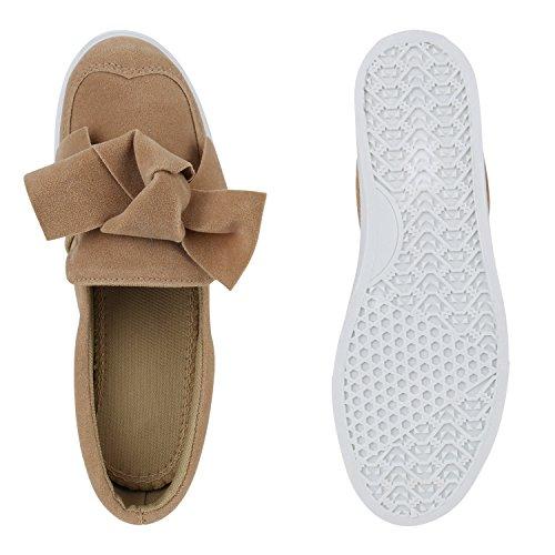 Stiefelparadies Bequeme Damen Slipper Sneaker Slip-Ons Leder-Optik Metallic Schuhe Schleifen Flats Denim Velours Flandell Khaki Weiss Schleife