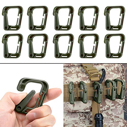 Multipurpose D-Ring Locking Hanging Hook Tactical Link Snap Keychain for Molle Webbing with Zippered Pouch by BOOSTEADY - Webbing Snaps