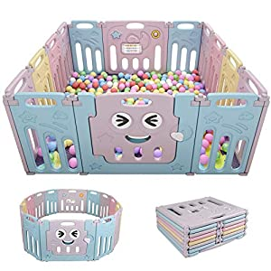 Baby Playpen 14 Panel Foldable Fence Activity Center Safety Playard with Lock Door,Kid's Fence Indoor Outdoor,Double…