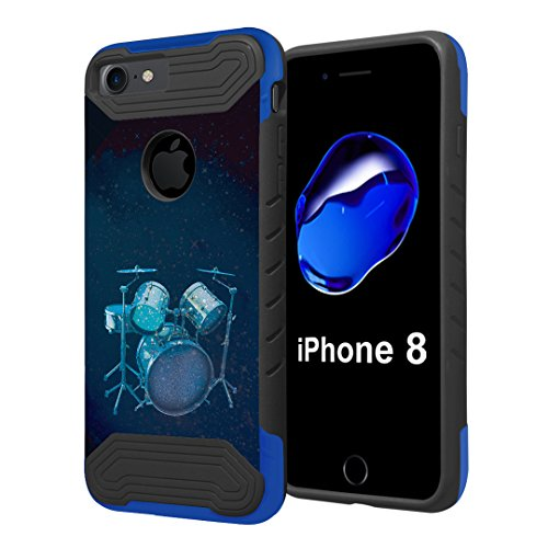 iPhone 8 Case, Capsule-Case Quantum Hybrid Dual Layer Slim Armor Case (Black Blue) for iPhone 8 - (Drums)