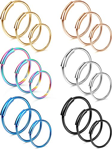Hestya 18 Pieces 20G Nose Ring Seamless Continuous Hoop Earrings Stainless Steel Septum Piercing Ring Jewelry for Tragus Cartilage Nose (Special Nose Art)
