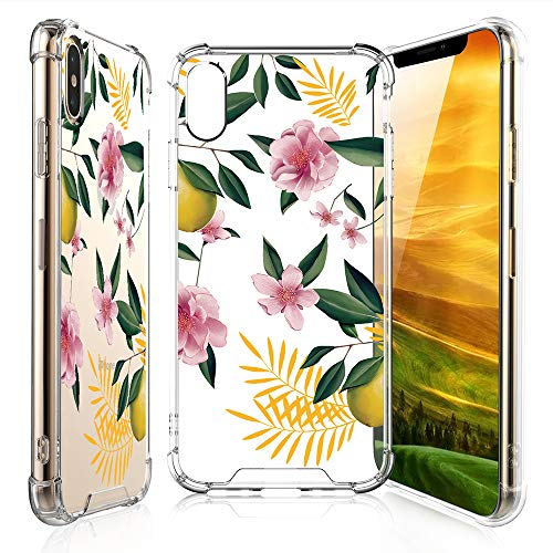 - TJS for iPhone Xs Max Case with Tempered Glass Screen Protector, Clear Flower Pattern Design Ultra-Thin Transparent Girls and Women Floral TPU Cover for iPhone Xs Max 2018 (6.5-Inch) – Lemon