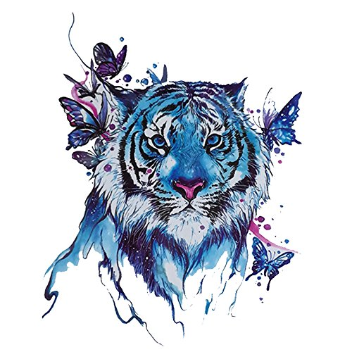 Tiger Temporary Tattoo for men, Teens Guys,kids boys (3 Sheets) by Qufan, Waterproof long lasting Fake Tattoos Stickers for Arms Shoulders Chest & Back- Biker Tattoos 15x21cm/5.9x8.26inches (Last Minute Halloween Makeup For Guys)