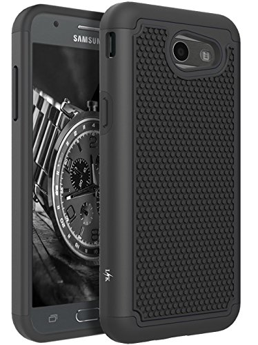 Eclipse Phone (For Samsung Galaxy J3 Emerge / J3 2017 / J3 Prime / J3 Mission / J3 Eclipse / J3 Luna Pro / Sol 2 / Amp Prime 2 / Express Prime 2 Case, LK Hybrid Armor Defender Protective Case Cover (Black))