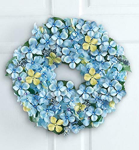 (Mikash Easter Spring Blue Hydrangea Berry Floral Wreath w/Hook 17Dia | Model WRTH - 645)
