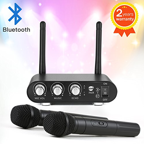 Wireless Microphone System - BUKELERN Wireless Karaoke Microphone Bluetooth Dual Channel for Outdoor Wedding,...